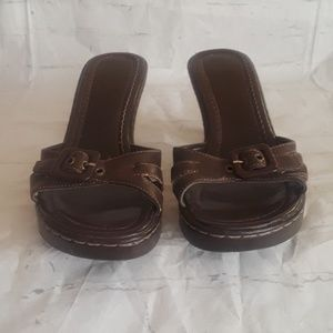 Soda Brown heeled front buckle sandals